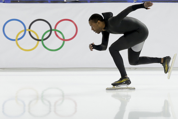 'Ready for action' stance as used in speed skating.
